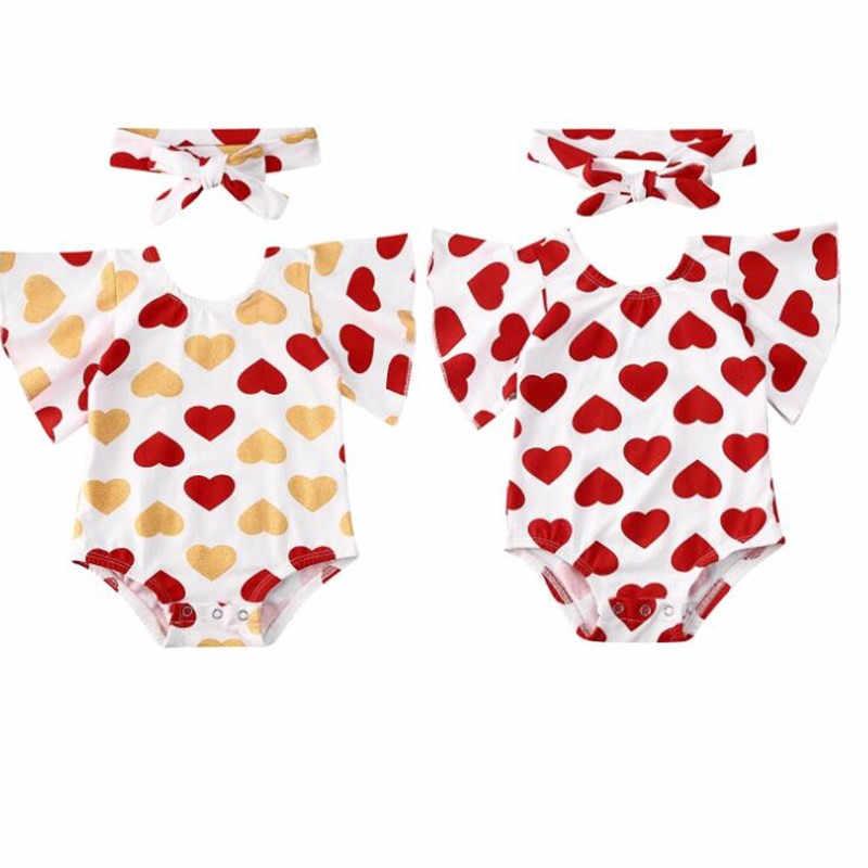יילוד תינוק בנות שלי האהבה יום Romper סרבל בגד גוף תלבושות בגימור קיץ התלקחות שרוול Playsuit לב אהבת סרט
