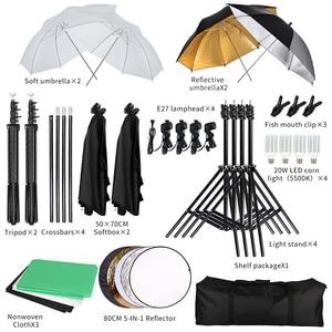 Image 5 - Fotografia softbox kit de iluminação com 2.6x3m suporte de fundo 3 pçs foto backdrops tripé guarda chuva para estúdio foto