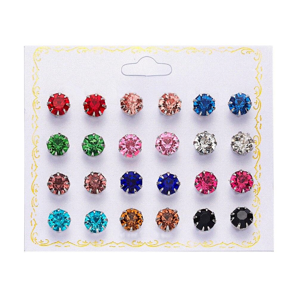 12 Pairs/set Stud Earrings Set With Card Transparent Zircon Balls Love Flowers Earrings Women Imulated Pearl Earrings Jewelry 61