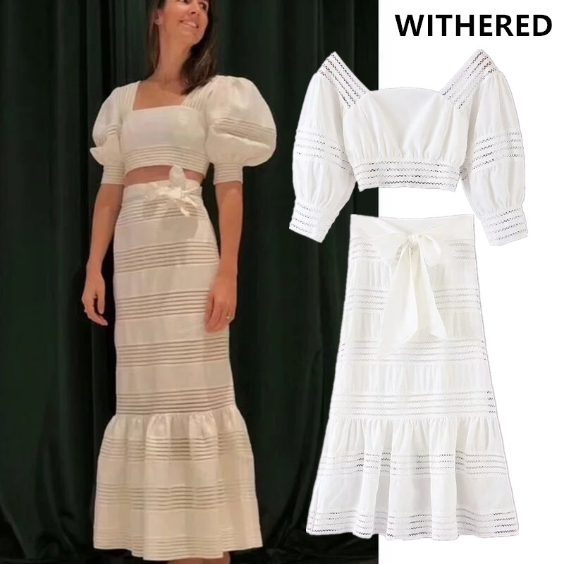 Withered England Vintage Solid Square Collar Hollow Out Blouse And Midi Skirts Two Piece Set Conjuntos De Mujer Tracksuit Blazer