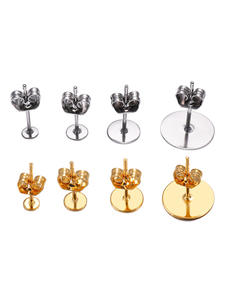 Studs Base-Pins Findings Earring-Plug Blank Jewelry-Making Ear-Back Stainless-Steel Gold