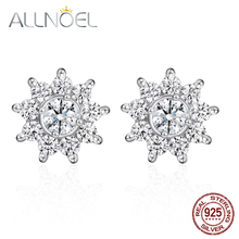ALLNOVEL 925 Sterling Silver Earrings For Women White Zircon Diamond Earrings Platinum Party Engagement Wedding Fine Jewelry New