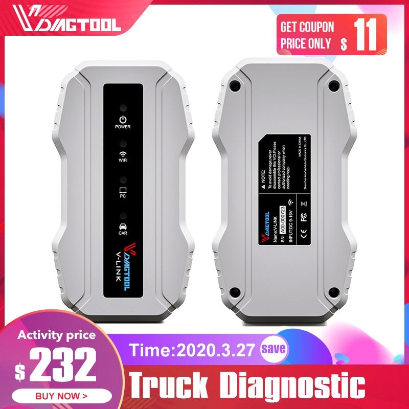 VDIAGTOOL Truck Diagnostic Interface For Cat3 For Volvo For Cummins V7.62 Wifi Version Vlink Heavy Duty Scanner Tool PK NEXIQ