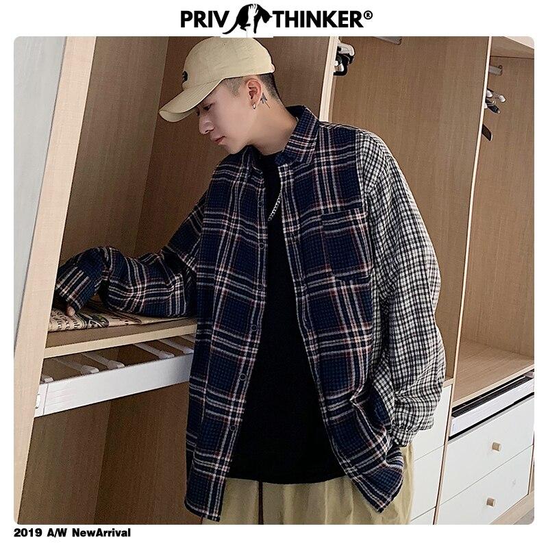 Privathinker 2019 Men's Plaid Long Sleeve Patchwork Shirt 2019 Men Woman Korean Loose Shirt Male Harajuku Fashion Shirts Autumn
