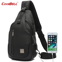 Waterproof Crossbody Bags USB Charging Messenger Bag Men Leather Chest Money Multifunctional Fanny Pack Banana