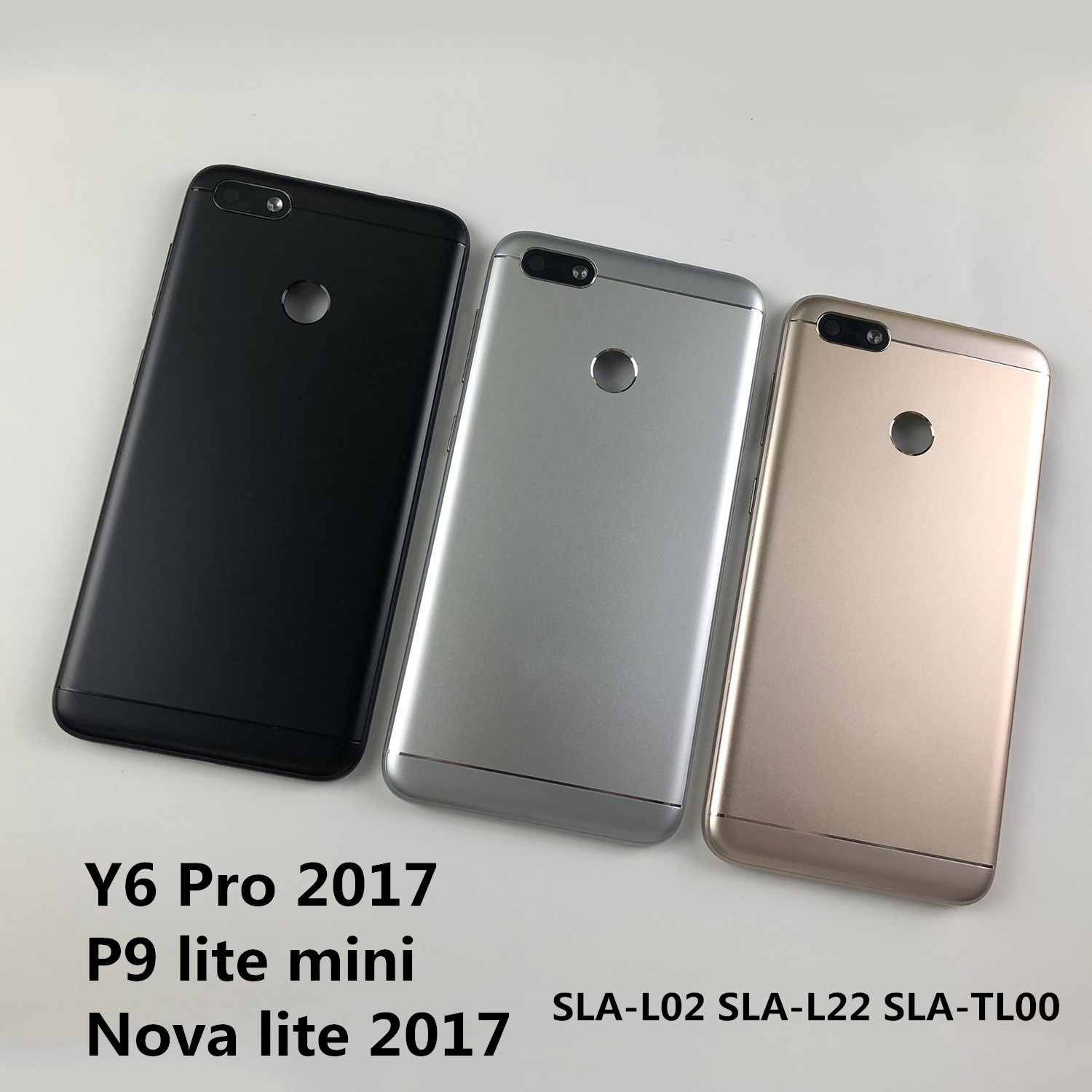 For Huawei Y6 Pro 2017 / P9 Lite Mini Housing Battery Cover Back Cover And Rear Camera Glass Lens And Power Volume Buttons+logo
