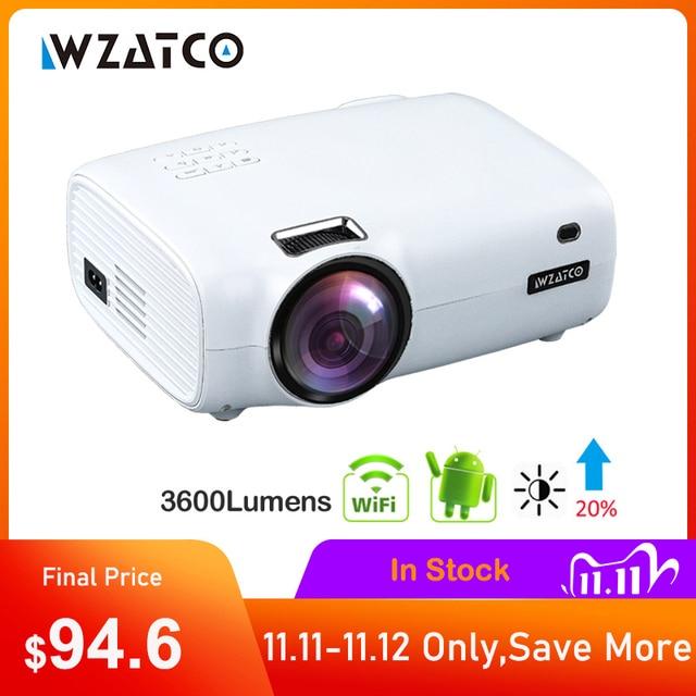 WZATCO E600 الروبوت 10.0 واي فاي الذكية المحمولة مصغرة جهاز عرض (بروجكتور) ليد دعم كامل HD 1080p 4K AC3 الفيديو المسرح المنزلي متعاطي المخدرات Proyector