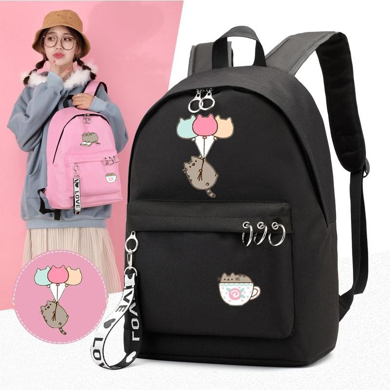 IMIDO Punsheen Cat Student Backpacks Anime Kawaii School Girls Bags Solid Circle Decorate For Teenagers Casual Travel Backpack