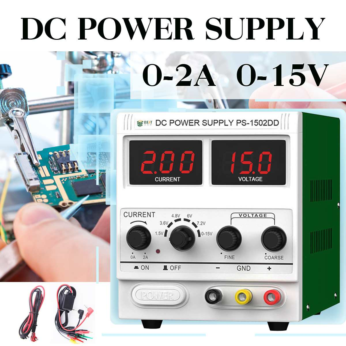 LED Digital Switching DC Power Supply Voltage Regulators Lab Repair Tool Adjustable <font><b>1502D</b></font>+ 110/220V Power Source image