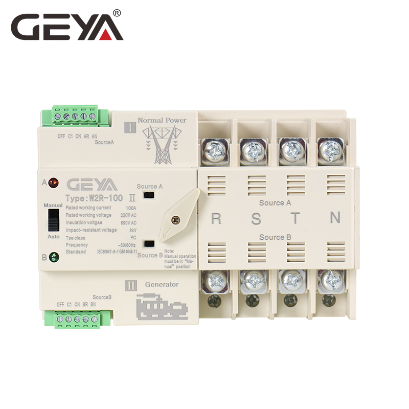 Free Shipping GEYA W2R 4P Mini ATS Automatic Transfer Switch Electrical Selector Switches Dual Power Switch Din Rail Type 63A-in Circuit Breakers from Home Improvement    1