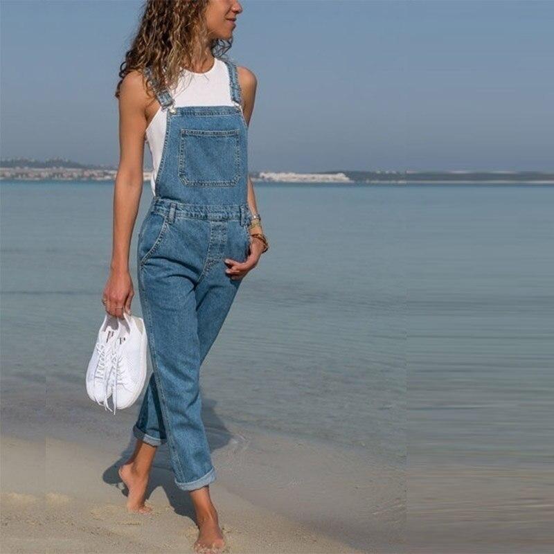 Women Jumpsuit Demin Pants Jeans Overalls Long Trousers Jumpsuits Rompers