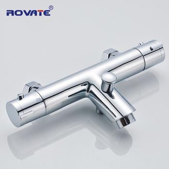 ROVATE bateria do wanny i prysznica naścienna podwójna rączka automatyczna kontrola za pomocą termostatu bateria łazienkowa do łazienki tanie i dobre opinie Chromowany Termostatyczne baterie Auto-Thermostat Control Współczesna RVT814 Dual Handle Brass