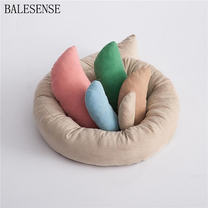 6 PCS/Set Newborn Photography Props Wheat Donut Posing Props Baby Pillows Ring Basket Filler Fotografia Photo Shoot Accessories