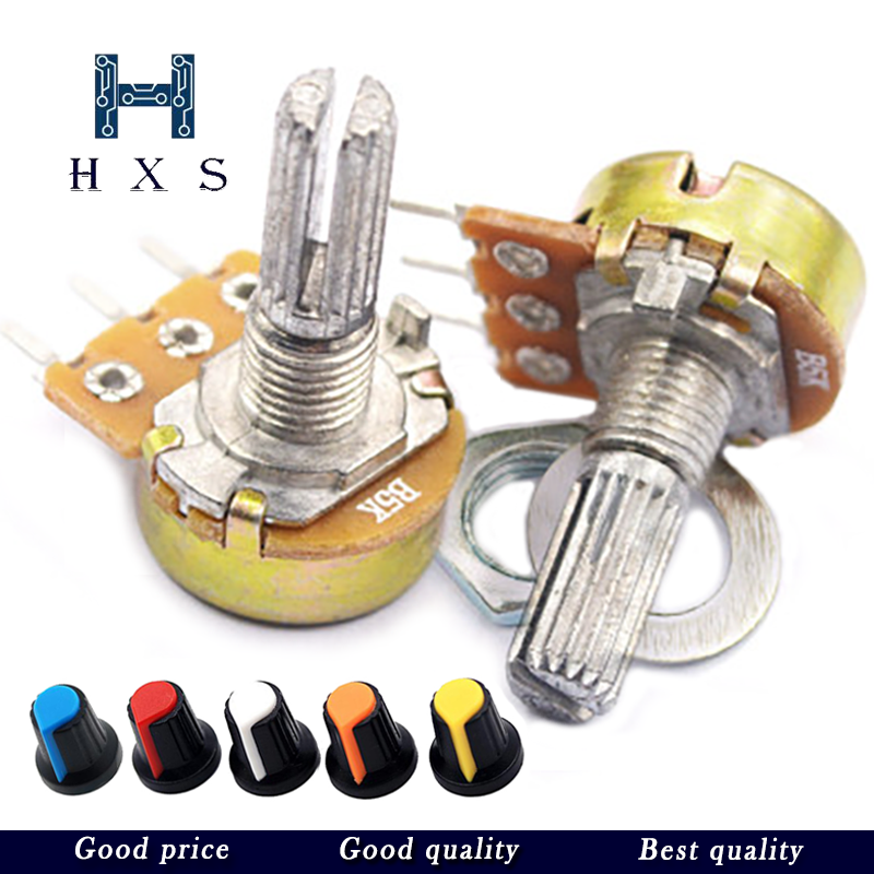 2pcs WH148 B1K B2K B5K B10K B20K B50K B100K B500K 3Pin 15mm Shaft Amplifier Dual Stereo Potentiometer 1K 2K 5K 10K 50K 100K 500K