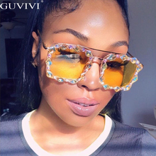 Square Rhinestone Sunglasses Women 2020 Crystal Diamond Sunglasses Men