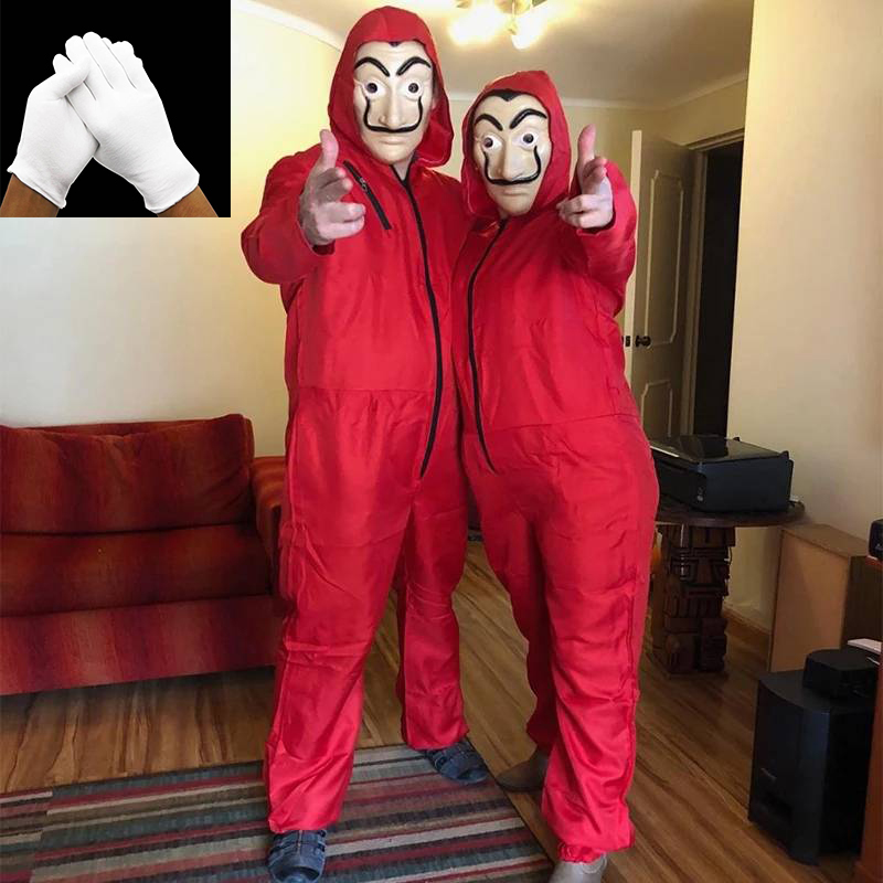 Cosplay Salvador Dali  La Casa De Papel Movie  Money Robbery Costume Christmas Party Halloween Jumpsuit Mask