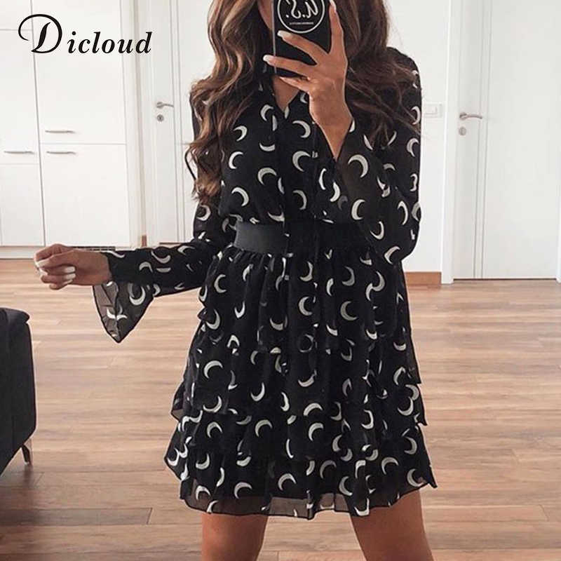 DICLOUD Moon Print High Neck Dress White Black Cascading Ruffle Chiffon Mini Party Dress A Line Long Sleeve Clothing 2020 Female
