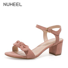 NUHEEL women's shoes new summer bow fairy style sandals thick heel buckle high heel shoes women женские босоножки