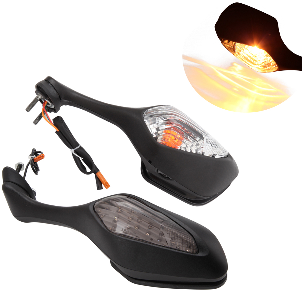 2X Motorcycle <font><b>LED</b></font> Turn Signal Rear View Mirror For <font><b>Suzuki</b></font> <font><b>GSXR</b></font> 600 <font><b>GSXR</b></font> <font><b>750</b></font> 2006 2007 2008 2009 2010-2012 <font><b>GSXR</b></font> 1000 2005-2008 image
