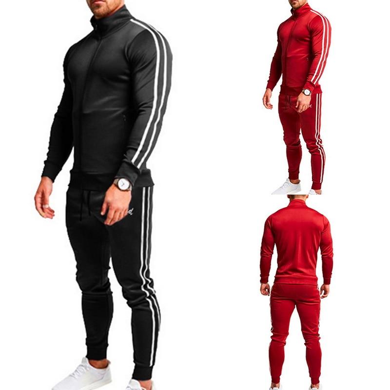 Autumn Mens Casual Zipper Zip Long Sleeve Top Sportswear Jacket+Pants Two-piece Suit Striped Male Drawstring Sweatpants 2019