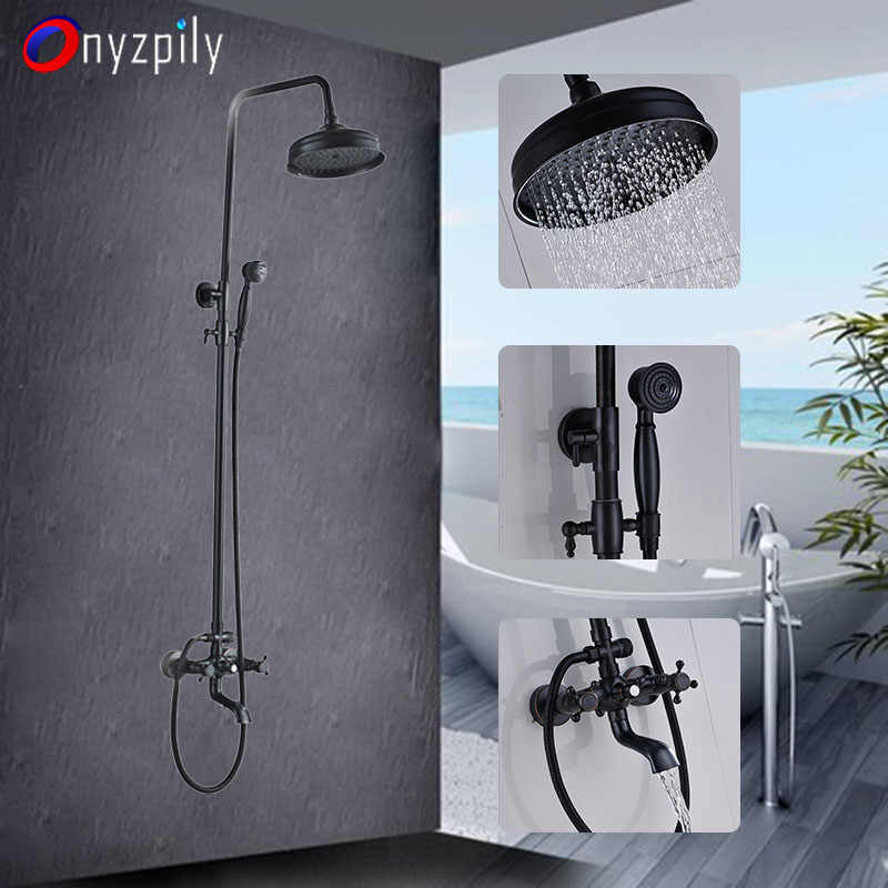 "Onyzpily Bathtub Shower Faucet Set 8"" ORB 3 Waterway Hot&Cold Water Mixer Faucet Double Handle Shower Tap Wall Mounted torneiras"