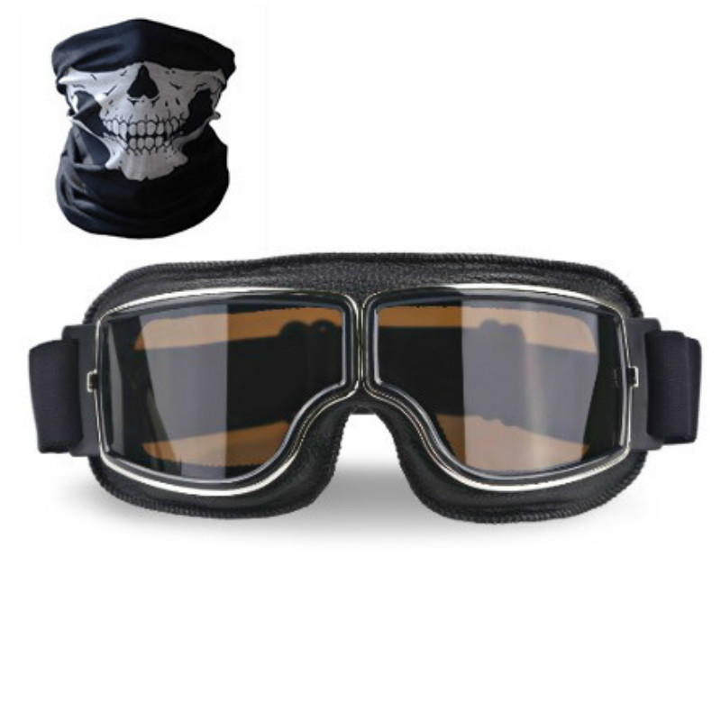 Universal Vintage Motorcycle Goggles Motorbike Scooter Biker Glasses Helmet Goggles Foldable with mask for gift