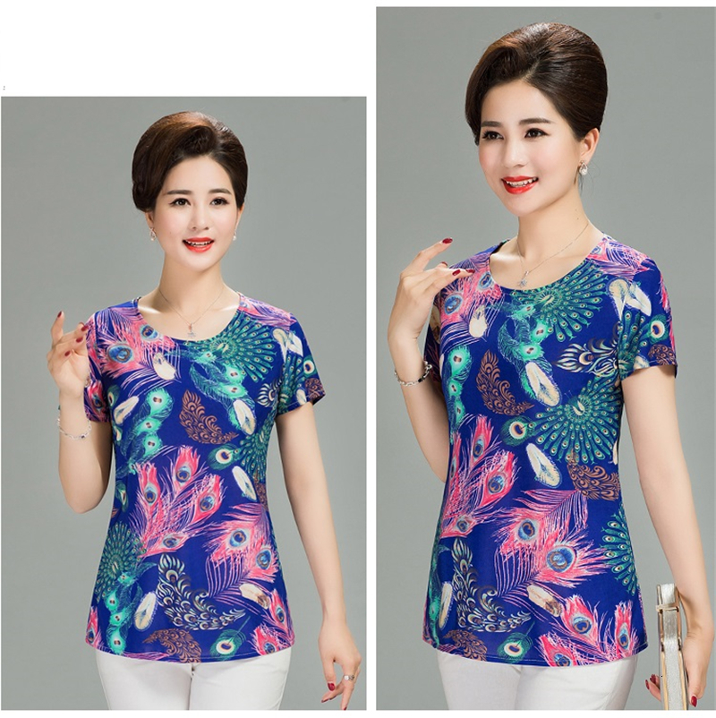 Hf84098d602834400bf1c2d5a454faf16X - Women Summer T-shirt Printed Milk Silk Short Women's T shirt Middle-aged Mother Clothes Plus size L-4XL Female Tops