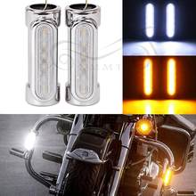 Chrome Universal Motorcycle Highway Bar Switchback Driving Light White Amber LED For Victory Crash Bars For Harley(China)