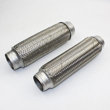 Car Exhaust Muffler Flex Pipe Exhaust Tip Stainless Steel Double Braid Tail Tube 51*250 45*450
