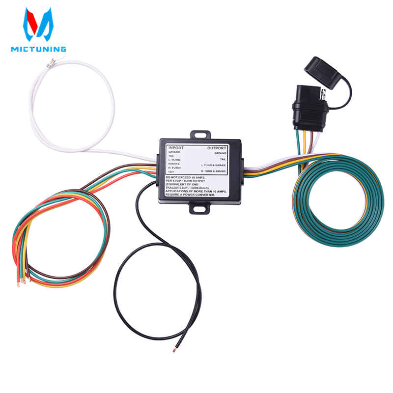 MICTUNING Powered 3 To 2 Wire Trailer Tail Light Converter For 12V Vehicle With Color Coded Wiring Harness