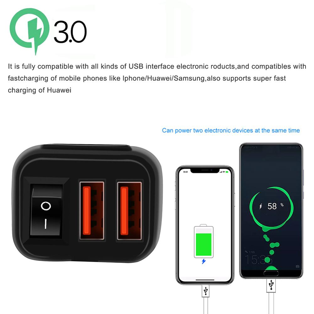 lowest price Motorcycle Vehicle-mounted Charger Waterproof USB Adapter 12V Phone Dual Quick Charge 3 0 Voltmeter ON OFF Switch Moto Accessory