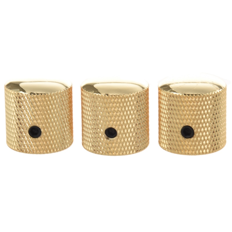 3PCS Gilded Metal Dome Knobs Knurled Barrel for Electric Guitar Parts Gold