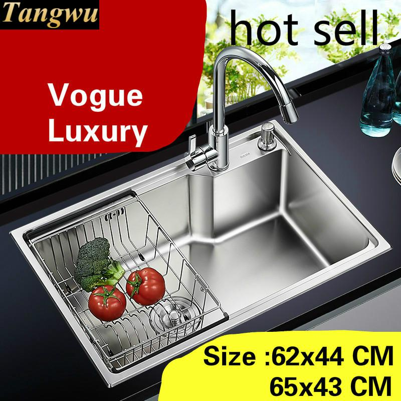 Free Shipping Home Small Kitchen Single Trough Sink Vogue Wash Vegetables 304 Stainless Steel Hot Sell 620x440/650x430 MM
