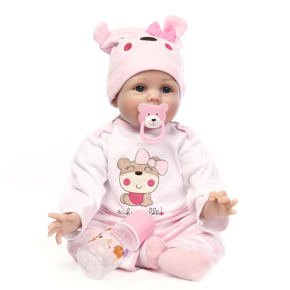 55CM Weichen Körper Silikon bebes Reborn Baby Puppe Spielzeug Geschenk Schlafengehen Baby Geschenk Frühen Für Mädchen Bildung Geburtstag Neugeborenen h6Q4