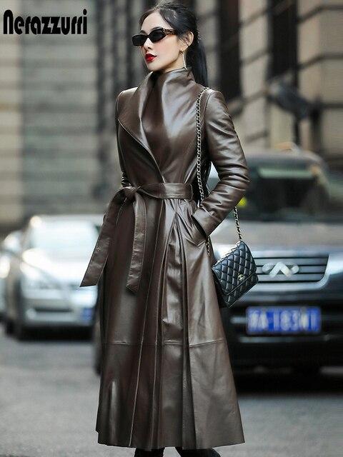 Nerazzurri Autumn long leather trench coat for women belt long sleeve skirted faux leather coat women plus size fashion 2020 7xl 1