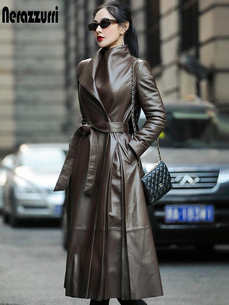 Nerazzurri Autumn long leather trench coat for women belt long sleeve skirted faux leather coat women plus size fashion 2020 7xl|Leather Jackets| - AliExpress
