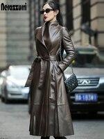 Nerazzurri Herbst Lange Braun Schwarz Weiche Faux Leder Graben Mantel für Frauen Gürtel Langarm Umsäumte Elegante Luxus Mode 2021