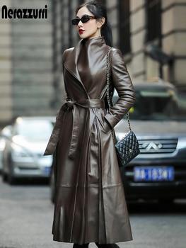 Nerazzurri Autumn long leather trench coat for women belt long sleeve skirted faux leather coat