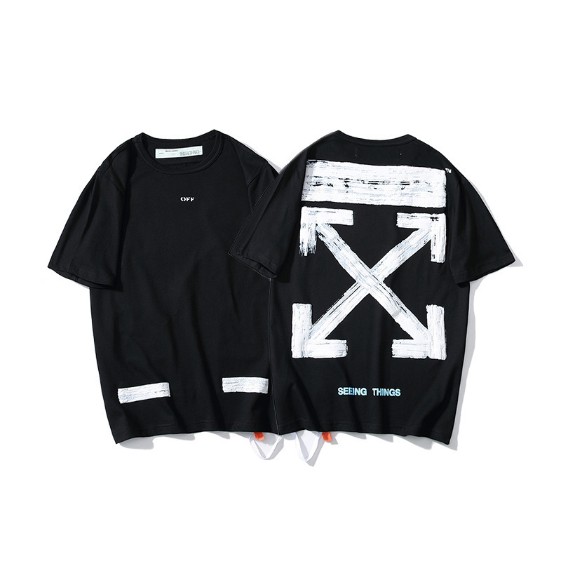 European And American Streets Popular Brand 19ss Off White Ow Graffiti Oil Painting Arrowhead Men And Women Couples Base Short S