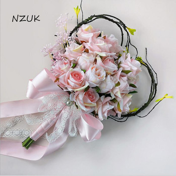 Bridal Flowers Wedding Flowers Artificial Pink Bridal Bouquet Heart Shaped Bouquet Wedding Bouquet SPH032