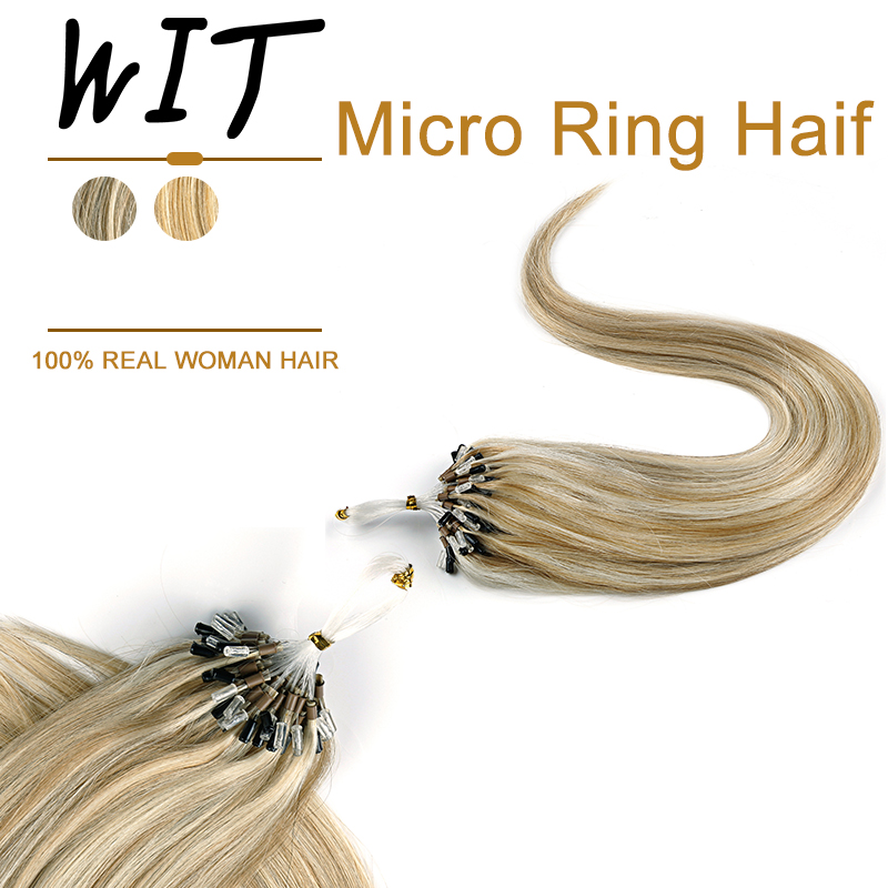 WIT 100% Human Straight Loop Micro Ring Hair Machine Made Remy Hair Micro Bead Links Extension 16-20inches 1G/1S 50g