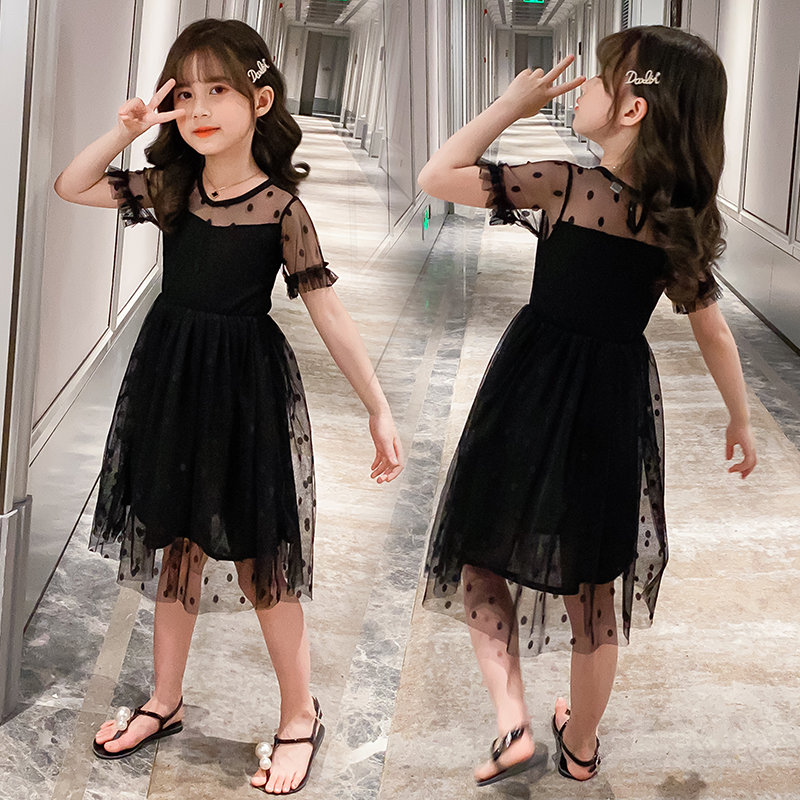 2020 Summer Girls Black Lace Dresses Children Mesh Princess Dress Fashion Party Dress For Girls 3T 4T 5 7 8 9 10 11 Years Frocks