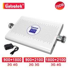 Lintratek amplifier gsm 3g 4g signal dual band 1800 2100 mhz dcs 2G 4G 900 1800 LTE celular signal booster umts 3G 70db repeater
