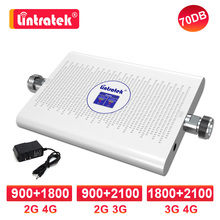 Lintratek 증폭기 gsm 3g 4g 신호 이중 대역 1800 2100 mhz dcs 2G 4G 900 1800 LTE celular 신호 부스터 umts 3G 70db 중계기