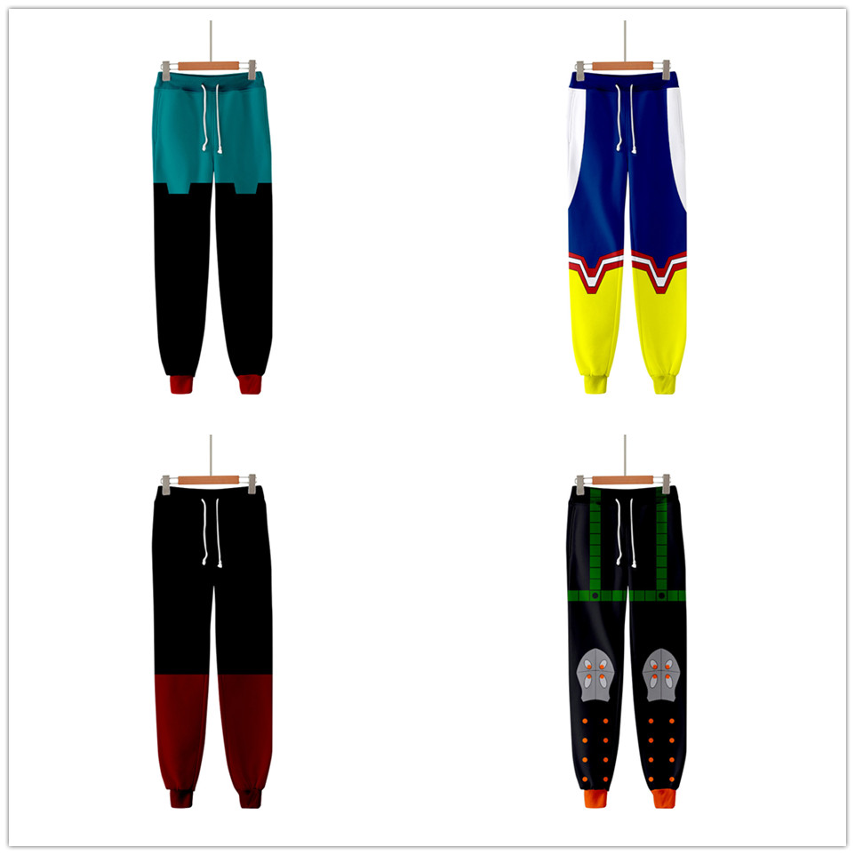 3D Boku No Hero Academia Sports Pants Unisex Role-playing My Hero Academia Casual Sweatpants Velvet Thicken Hip Hop Trousers