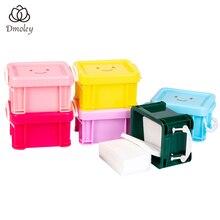 Dmoley, 6 цветов, коробка для дизайна ногтей, держатель для удаления ватных дисков, контейнер для хранения косметики, прозрачные отсеки, держатель для дизайна ногтей, Органайзер