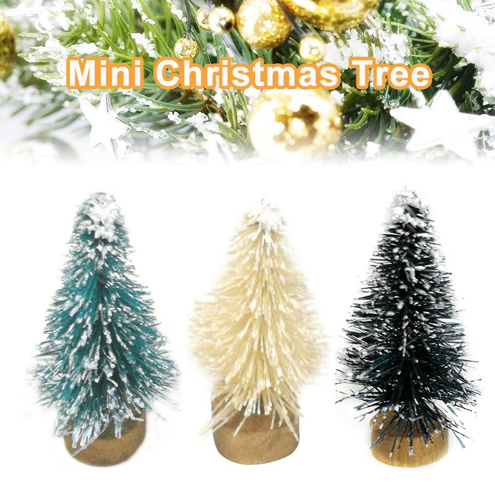 1 шт. Мини DIY Рождественская елка маленькая сосна мини деревья Рождественское украшение домашний офис стол рождественские деревья подарок 3