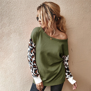 Autumn winter Women's sweaters O-Neck casual Loose knitted Jumpers leopard long sleeves sweater oversize ladies pullover tops black v neck long sleeves loose plunge knitted sweaters