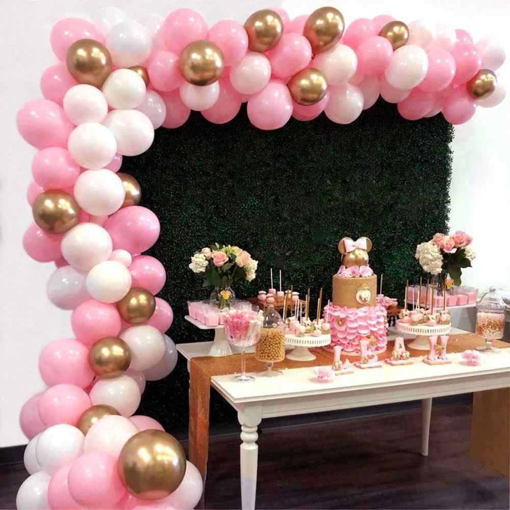 112 قطعة مجموعة قوس بالون جارلاند 16Ft طويل وردي أبيض الذهب اللاتكس بالونات الهواء حزمة للطفل دش حفلة عيد ميلاد ديكور لوازم.