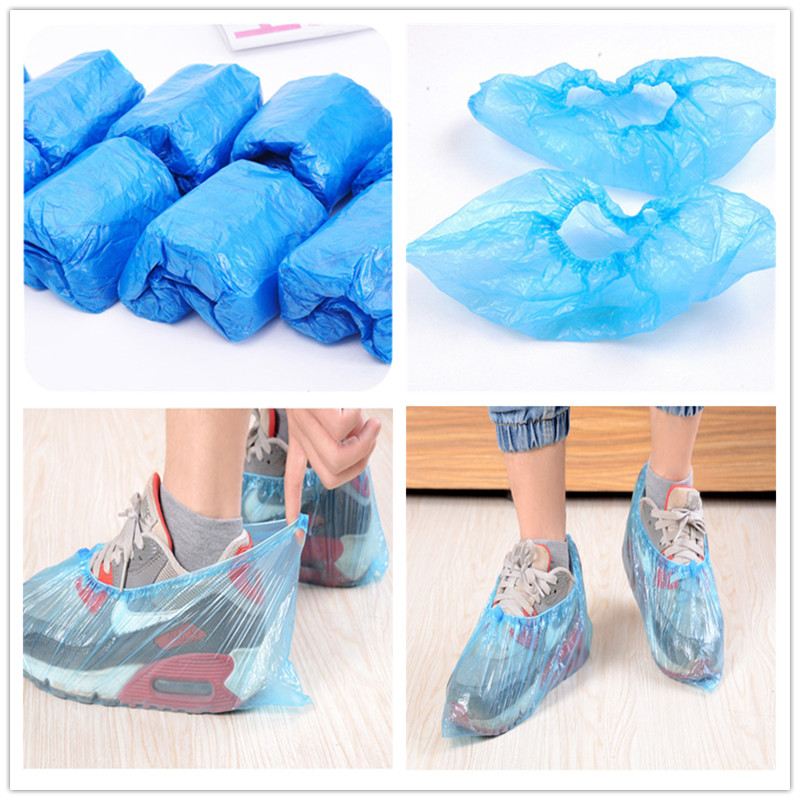 10Pcs Plastic Waterproof 25g Disposable Shoe Covers Rainy Day Carpet Floor Protector Thick Cleaning Shoe Cover Blue Overshoes